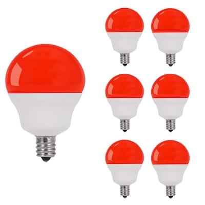 40-Watt Equivalent G14 5-Watt Non-Dimmable Red Colored LED Light Bulb E12 Base (6-Pack)