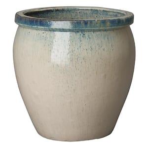 26 in. Dia Round Distressed White Ceramic Planter