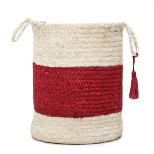 Bold Striped Off-White / Red 17 in. Jute Decorative Storage Basket with Handles