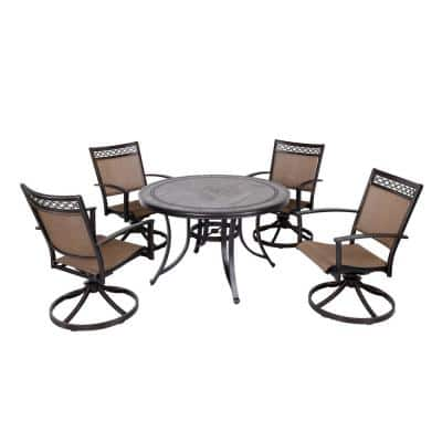 5-Piece Aluminum Outdoor Dining Set with 4-Piece Swivel Rocker Sling Chair Set and 46 in. Round Mosaic Tile Top Table