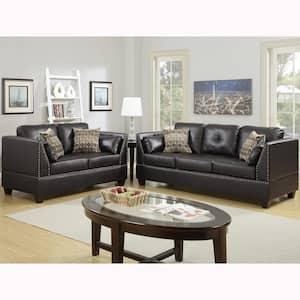 Abruzzo 2-Piece Espresso Sofa Set Bonded Leather