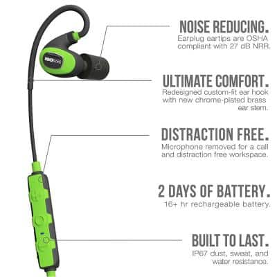 PRO 2.0 Listen Only Bluetooth Hearing Protection, 27 dB Noise Reduction Rating, OSHA Compliant Ear Protection (No Mic)