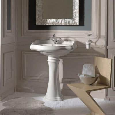 Heritage WSBC Pedestal Sink Combo in Ceramic White with Single Faucet Hole