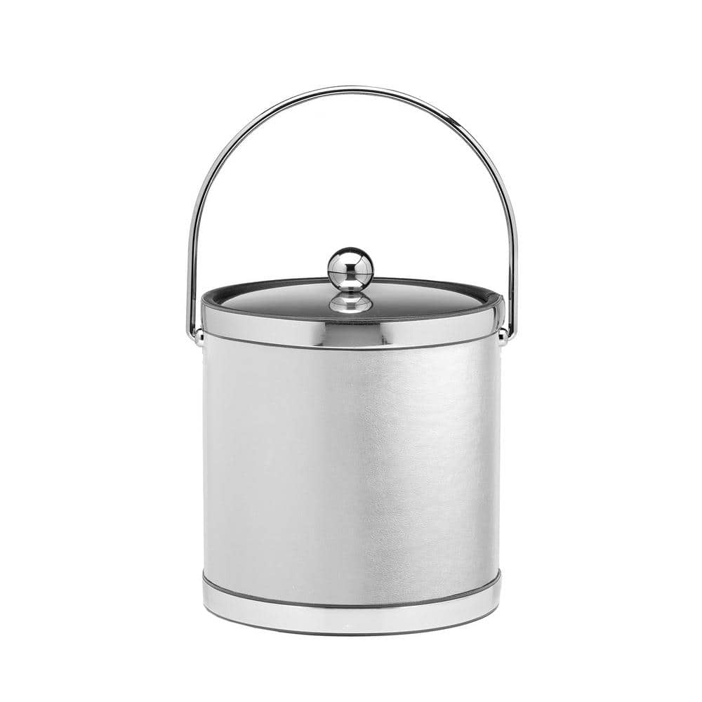 Kraftware Sophisticates 3 Qt White And Polished Chrome Ice Bucket With Bale Handle Metal Lid Case Of 6 504686 The Home Depot