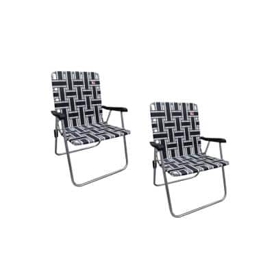 Classic Reinforced White/Black Aluminum Webbed Folding Lawn/Camp Chair (2-Pack)