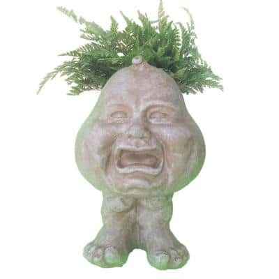 8.5 in. Stone Wash Crying Brother the Muggly Face Statue Planter Holds 3 in. Pot