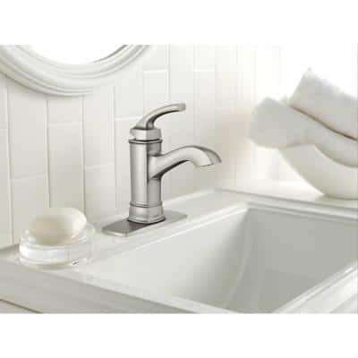 Hensley Single Hole Single-Handle Bathroom Faucet with Towel Ring in Spot Resist Brushed Nickel