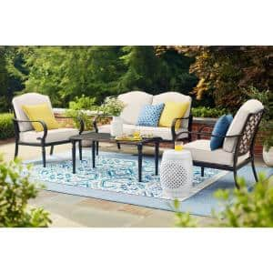 Laurel Oaks 4-Piece Brown Steel Outdoor Patio Conversation Seating Set with CushionGuard Almond Tan Cushions