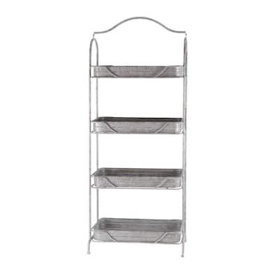 55 in. Galvanized Gray/Metallic Silver Metal 4-shelf Standard Bookcase with Open Back