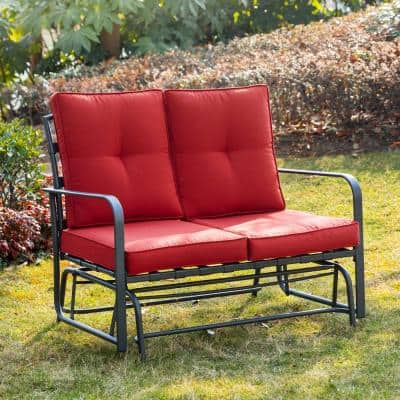 Metal Outdoor Patio Loveseat Glider Chair in Red Cushion