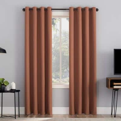 "Channing 50""W x 84""L Terracotta Grid Texture Draft Shield Fleece Insulated 100% Blackout Grommet Curtain Panel"