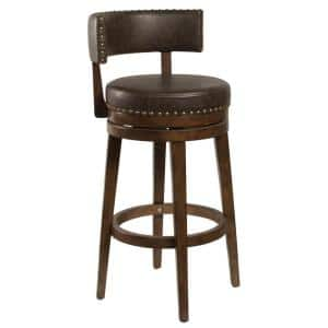 Lawton 40 in. Walnut Wood Bar Height Swivel Stool