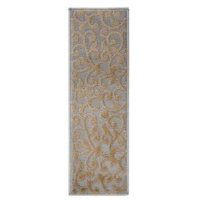 Leaves Collection Beige 9 in. x 28 in. Polypropylene Stair Tread Cover (Set of 4)