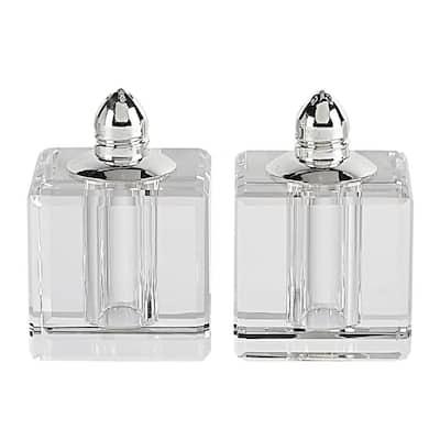 Handmade Lead Free Crystal Pair Salt and Pepper Clear Vitality Platinum Tall