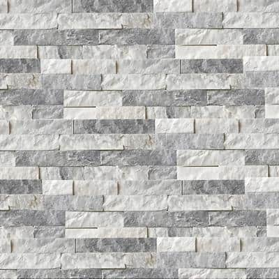 Alaska White 6 x 16 x 8 in. Natural Stacked Stone Veneer Corner Siding Exterior/Interior  Wall Tile (10-Box/64.17 sq ft)