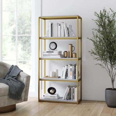 Oscar 59 in. White/Gold Brass Wood and Metal 5-Shelf Modern Etagere Bookcase with Storage Shelves