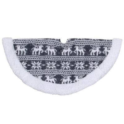 20 in. Gray Reindeer Lodge Mini Christmas Tree Skirt with Sherpa Trim