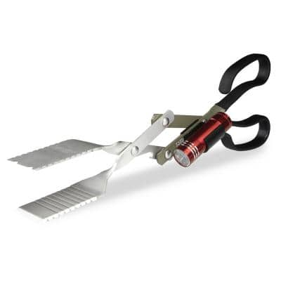 BBQ Croc 15 in. 3 in. 1 BBQ Tongs, Spatula and Grill Scraper with Clip-On Light