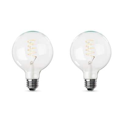 60-Watt Equivalent G40 Dimmable LED Clear Glass Vintage Edison Light Bulb With Spiral Filament Warm White (2-Pack)