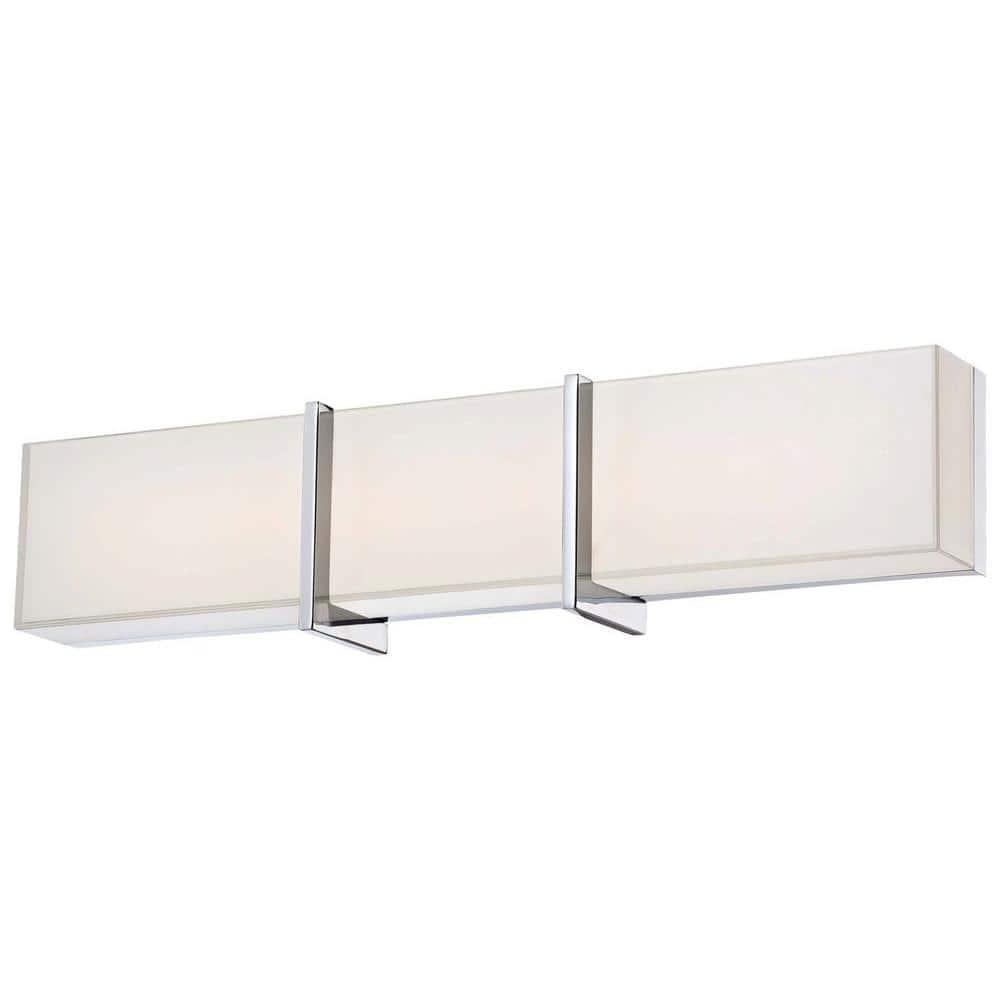 Minka Lavery High Rise Led Bath Chrome Vanity Light 2922 77 L The Home Depot