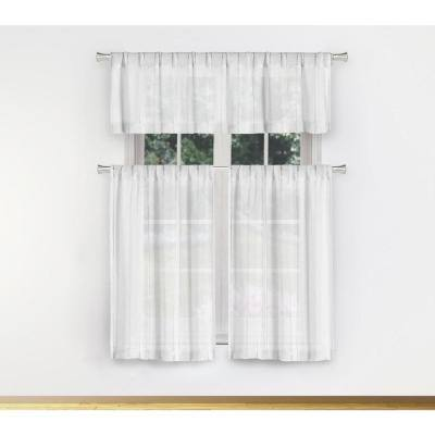 White Solid Rod Pocket Room Darkening Curtain - 56 in. W x 56 in. L (Set of 2)