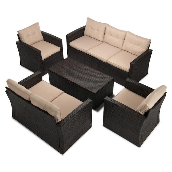 Boyel Living 5 Piece Wicker Outdoor, Outdoor Conversation Furniture