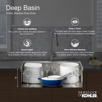 Vault Drop-In/Undermount Stainless Steel 25 in. 1-Hole Single Bowl Kitchen Sink Kit