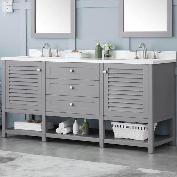 Home Decorators Collection Grace 72 In, Pebble Grey Bathroom Cabinets