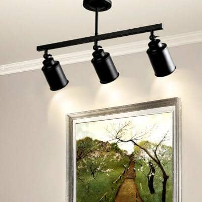Chait 3-Light Black Modern Linear Fixed Track Lighting Kit Industrial Celling Fixture with Adjustable Heads