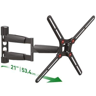 Barkan 13 in. to 65 in. Full Motion 4-Movement Long Flat/Curved TV Wall Mount Black Patented Touch and Tilt