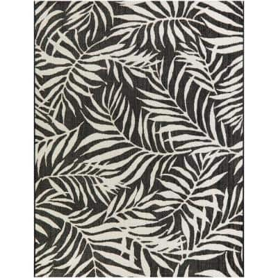 Tropical Palm Leaves Black 5 ft. x 7 ft. Indoor/Outdoor Area Rug