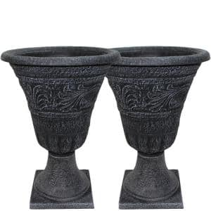 Tumbled Scroll 16 in. Weathered Black Resin Composite Urn Planter Pack (2-Pack)
