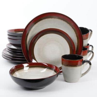 Couture Bands 16-Piece Modern Cream with red rim Stoneware Dinnerware Set (Service for 4)