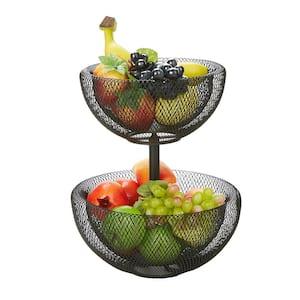Black 2-Tier Mesh Decorative Fruit Bowl