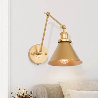 1-Light Swing Arm Plug-In Modern Gold Wall Sconce Hardwire Adjustable Wall Lamps