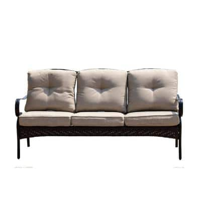 Deer Black 1-Piece Metal Outdoor Couch with Beige Cushions