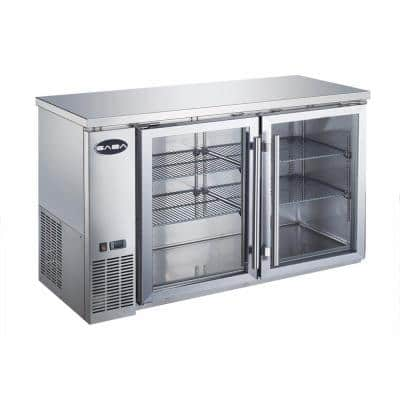 60 in. W 15.8 cu. ft. Commercial Under Back Bar Cooler Refrigerator with Glass Doors in Stainless Steel