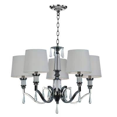 Eliza 5-Light Chrome Chandelier with Linen Fabric Shade