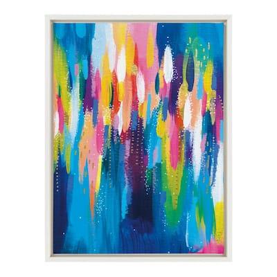 "Sylvie ""EV Bright Brush Strokes 033"" by Jessi Raulet of EttaVee Framed Canvas Wall Art 18 in. x 24 in."