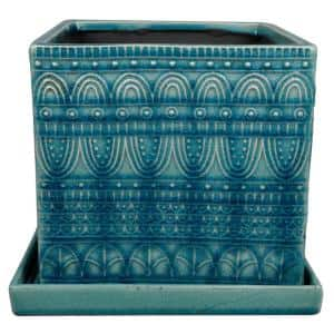 8 in. Aqua Seven Seas Square Ceramic Planter