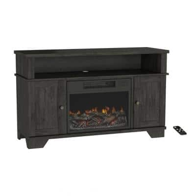 47 in. Freestanding Electric Fireplace TV Stand in Woodgrain Black