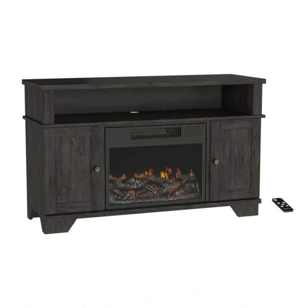 Northwest 47 In Freestanding Electric Fireplace Tv Stand In Woodgrain Black Hw0200160 The Home Depot