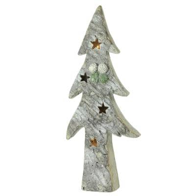 30 in. LED Lighted Battery Operated Rustic Glittered Christmas Tree Table Top Decoration
