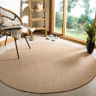 Courtyard Natural/Cream 8 ft. x 8 ft. Distressed Solid Indoor/Outdoor Round Area Rug
