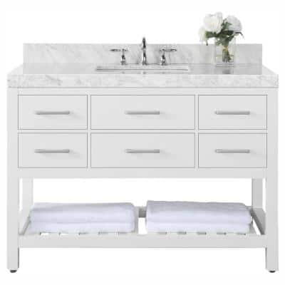 Elizabeth 48 in. W x 22 in. D Vanity in White with Marble Vanity Top in Carrara White with White Basin