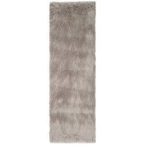 Faux Sheep Skin Gray 3 ft. x 8 ft. Runner Rug