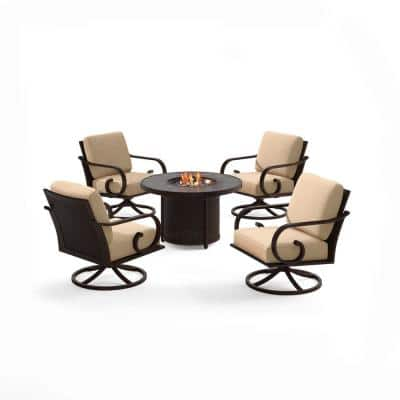 Milano 5-Piece Aluminum Patio Fire Pit Set with Tan Cushions