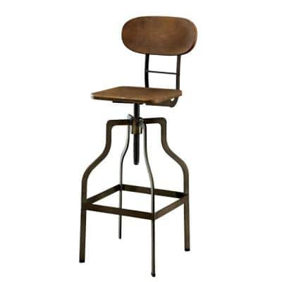 Industrial Style Brown Wooden Swivel Bar Stool with Gray Metal Base