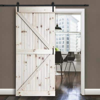 30 in. x 83.5 in. Unfinished K-Bar Solid Core Pine Interior Barn Door Slab Kit