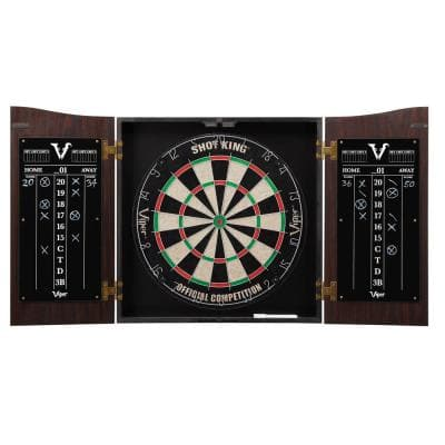 Vault Shot King Sisal 17.75 in. Dartboard with Cabinet and Accessories
